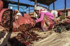 Peppar för röd chili på en marknad i Etiopien Fotografering för Bildbyråer
