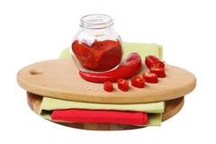 Peppar för röd chili på vit bakgrund arkivfoton