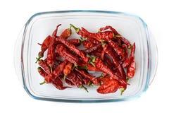 Peppar för röd chili som isoleras på en vit bakgrund Arkivfoton