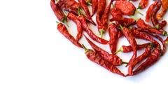 Peppar för röd chili som isoleras på en vit bakgrund Fotografering för Bildbyråer