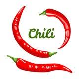 Peppar för röd chili som isoleras på vit bakgrund stock illustrationer
