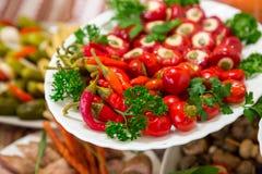 Peppar för röd chili, tomatoe på den vita plattan arkivfoton