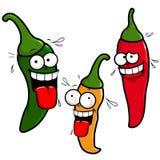 Peppar för varm chili för tecknad film stock illustrationer