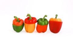 Peppar i fyra färger royaltyfria foton