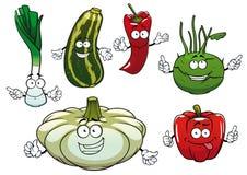 Peppar, zucchini, kålrabbi, squash och lök Arkivbilder