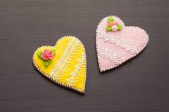 Pepparkaka på dag för valentin` s Royaltyfria Bilder