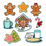 Pepparkakahus, man, kvinna, varm choklad, uppsättning för kakasanta illustration vektor illustrationer