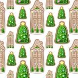Pepparkakahus och sömlös modell för julgranträd stock illustrationer
