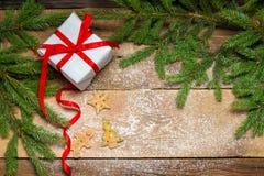 Pepparkakakakor som omges av granen och en gåva för Christma Arkivfoto