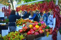 Pepparställning på bondes marknad Arkivfoto
