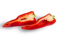 Peppe rouge frais découpé en tranches Images libres de droits