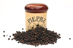 Pepper. Container on pepper with polish label. Background white royalty free stock photography