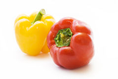 Pepper. Red and yellow Pepper on white background stock image