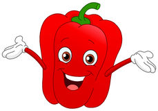 Pepper. Cheerful cartoon pepper raising his hands Royalty Free Stock Image