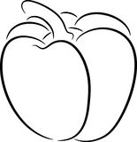 Pepper. Illustration of a sweet pepper contour, isolated Stock Photo