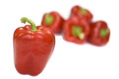 Pepper. Red and yellow pepper isolated on white royalty free stock images