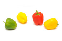 Pepper. Red, yellow and green peppers isolated on white background Stock Images