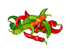 Pepper. Harvest of red and green hot peppers vector illustration