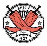 Pepper. Grungy rubber stamp with Pepper shape and the words hot spicy written inside the stamp Stock Image