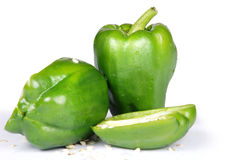 Pepper. Green bell pepper on white background Stock Image