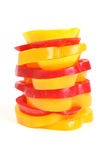 Pepper. Pieces of red and yellow pepper Royalty Free Stock Image