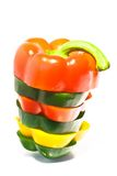 Colorful bell pepper stack Stock Images