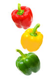 Pepper arranged in order of traffic lights. Red, yellow, green - pepper arranged in order of traffic lights Royalty Free Stock Photos