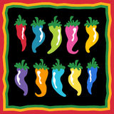 Pepper Background. Set of chili peppers with festive border Stock Photos