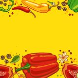 Pepper background. Yellow background with bell peppers and hot peppers Vector illustration Stock Photos