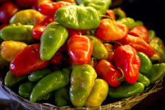 Pepper basket. A close up on a basket full of yellow, green and red peppers Royalty Free Stock Photos