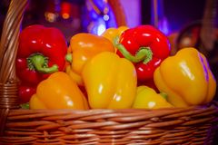 Pepper in the basket royalty free stock images