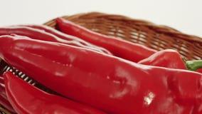 Pepper in basket stock video