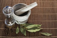 Pepper and bay leaf stock photos