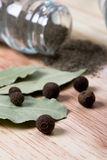 Pepper and bay leaves Royalty Free Stock Photo