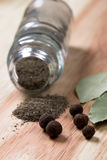 Pepper and bay leaves Stock Photo
