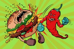 Pepper beats Burger, vegetarianism vs fast food. Spicy. Comic book cartoon pop art retro vector illustration Stock Photo
