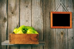Pepper in a box, and  framework. Stock Image