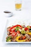 Pepper broccoli beef stir fry Royalty Free Stock Photo