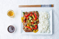 Pepper broccoli beef stir fry Royalty Free Stock Photography
