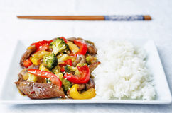 Pepper broccoli beef stir fry Royalty Free Stock Image