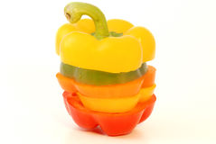 Pepper Bulgarian. Colorful Bulgarian sliced peppers on a white background Stock Photography