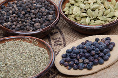 Pepper, cardamom, juniper berries and provencal Royalty Free Stock Photography