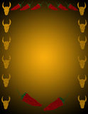Pepper and Cattle background. Peppers and cattle border. Background, illustration Royalty Free Stock Images