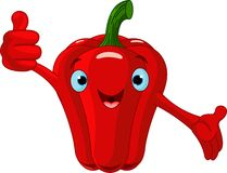 Pepper Character  giving thumbs up Stock Photo