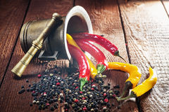 Pepper , chili and mortar Royalty Free Stock Image