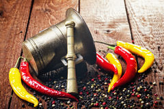 Pepper , chili and mortar Royalty Free Stock Photos
