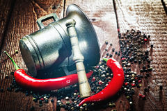 Pepper , chili and mortar Royalty Free Stock Images