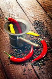 Pepper , chili and mortar Royalty Free Stock Photo