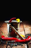 Pepper , chili and mortar Royalty Free Stock Photography