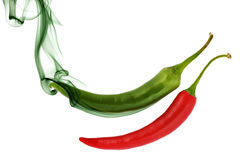 Pepper with color smoke Stock Photography